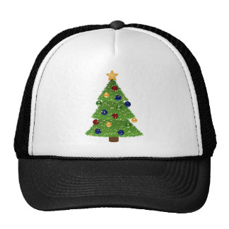 Colorful Christmas Tree with Ornaments and Star Trucker Hat