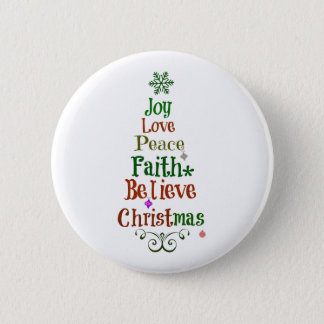 Colorful Christmas Tree Words Button