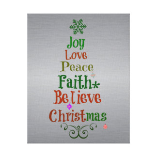 Colorful Christmas Tree Words Canvas Print