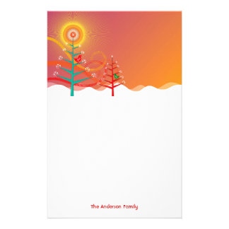 Colorful Christmas Trees Chicks Holiday Stationery