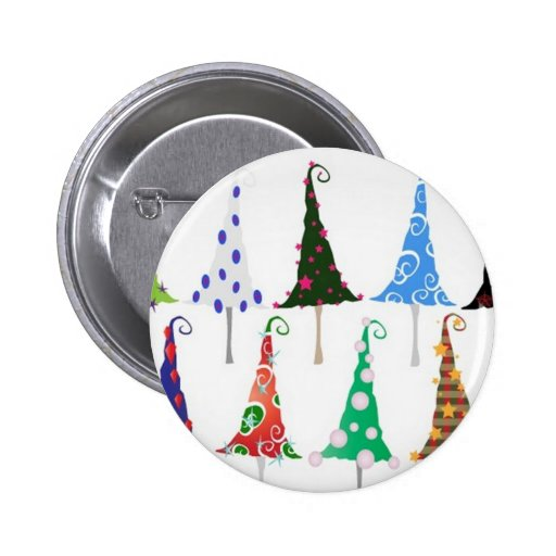Colorful christmas trees design pinback buttons