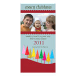 Colorful Christmas Trees - holiday photocards Picture Card