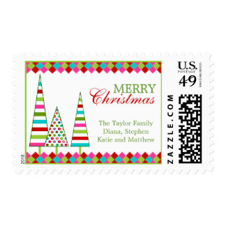 Colorful Christmas Trees Postage Stamps