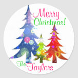 Colorful Christmas Trees Sticker