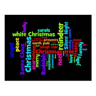 Colorful Christmas Word Cloud Post Card