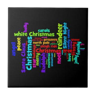 Colorful Christmas Word Cloud Tile