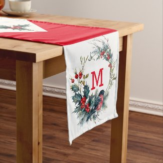 Colorful Christmas wreath and bullfinch illustrati