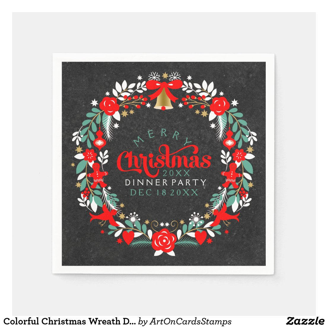Colorful Christmas Wreath Dinner Party Invite Paper Napkin