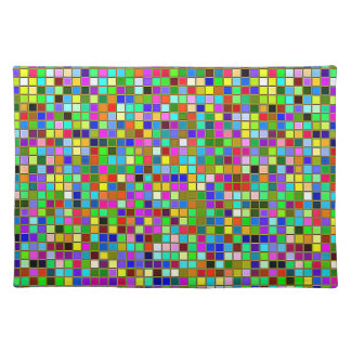 Colorful Chunky Olive Green Square Tiles Pattern Cloth Placemat