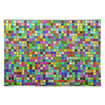 Colorful Chunky Olive Green Square Tiles Pattern Place Mat