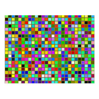 Colorful Chunky Olive Green Square Tiles Pattern Postcard