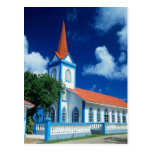 Colorful church on the island of Tahaa in the Postcard