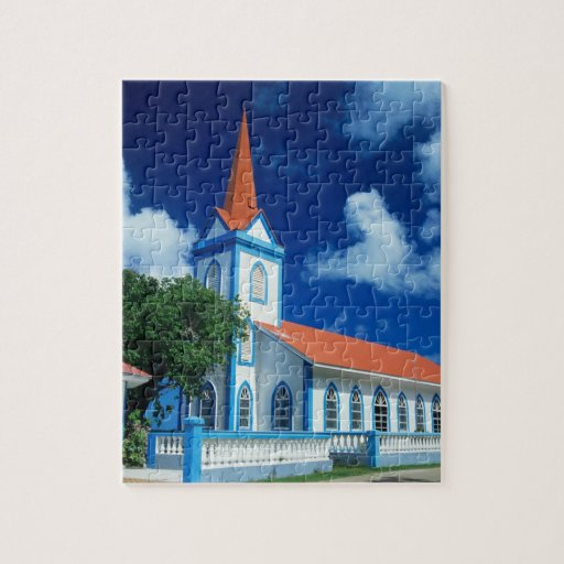 Colorful church on the island of Tahaa in the Jigsaw Puzzle