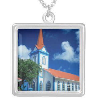 Colorful church on the island of Tahaa in the Silver Plated Necklace
