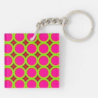 Colorful circle abstract pattern Double-Sided square acrylic keychain