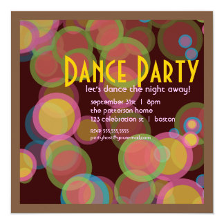 Colorful Circle Disco Light Dance Party Invitation