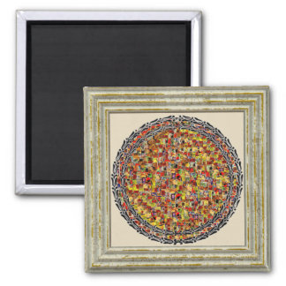 Colorful Circle Inside Square Magnet