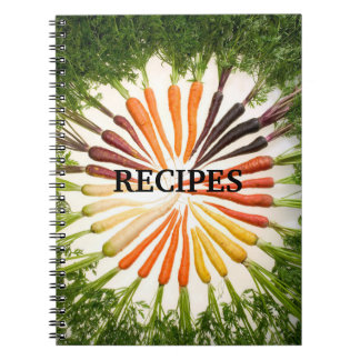 Colorful Circle of Carrots Green Tops Recipe Spiral Notebook