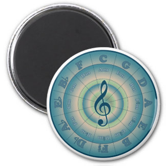 Colorful Circle of Fifths 2 Inch Round Magnet