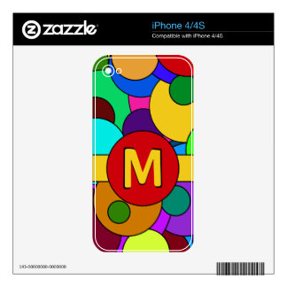 Colorful Circle Pattern Monogram Skin For iPhone 4S