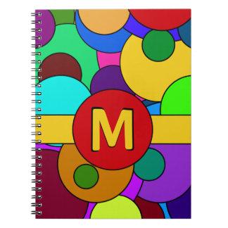 Colorful Circle Pattern Monogram Spiral Notebook