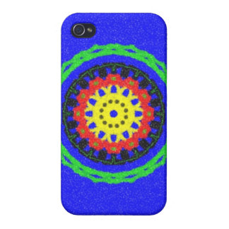 Colorful circle pattern on blue background cover for iPhone 4