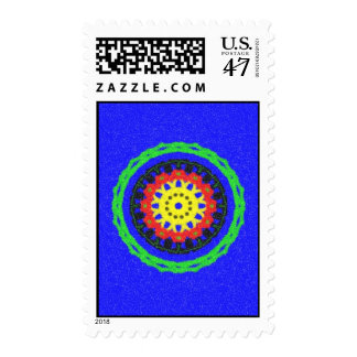 Colorful circle pattern on blue background postage