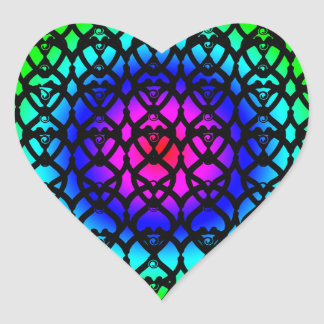 Colorful Circle Rainbow Abstract pattern Heart Sticker