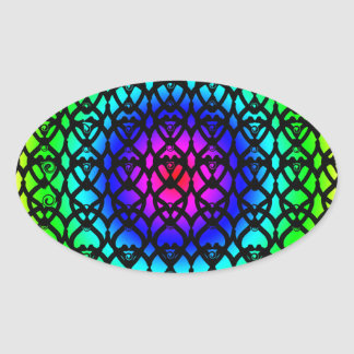 Colorful Circle Rainbow Abstract pattern Oval Sticker