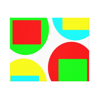 Colorful Circles and Squares design Canvas Print