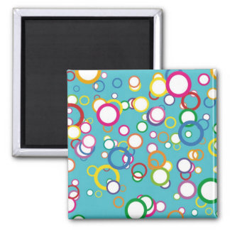 Colorful Circles Bubbles on Aqua Teal Pattern Magnet