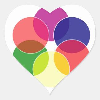 Colorful circles- color scheme heart stickers