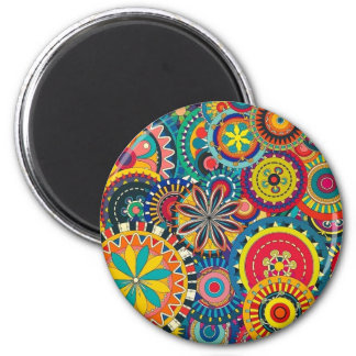 Colorful circles composition 2 inch round magnet