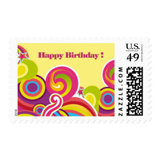 Colorful Circles Design Birthday Postage Stamps