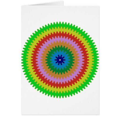 Colorful Circles Gears Bulls Eye Pattern Gifts Greeting Card