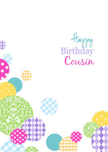 Colorful Circles Happy Birthday Female Cousin Card