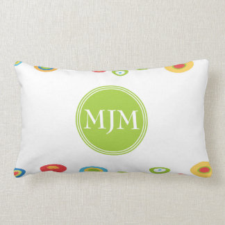 Colorful Circles Monogram Lumbar Pillow