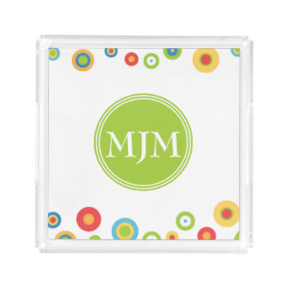 Colorful Circles Monogram Square Acrylic Tray