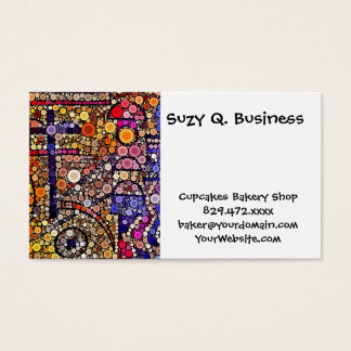 Colorful Circles Mosaic Southwestern Cross Design Business Card