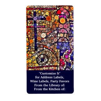 Colorful Circles Mosaic Southwestern Cross Design Shipping Label