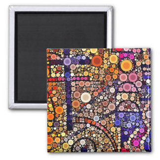 Colorful Circles Mosaic Southwestern Cross Design Magnet