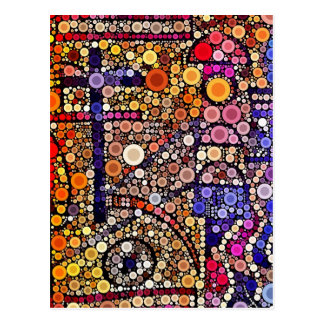 Colorful Circles Mosaic Southwestern Cross Design Postcard
