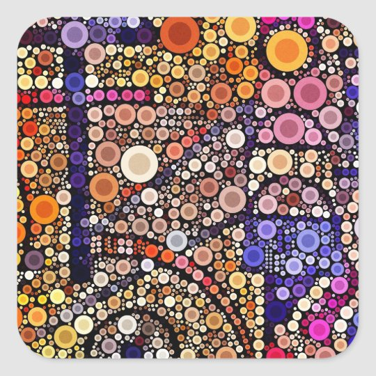 Colorful Circles Mosaic Southwestern Cross Design Square Sticker