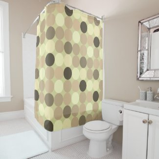 colorful circles of pastel color in Sepia Shower Curtain