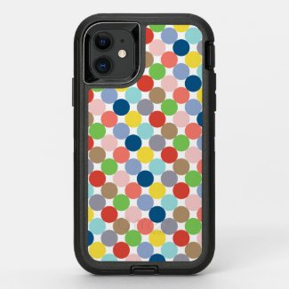 colorful circles of pastel color... OtterBox defender iPhone 11 case