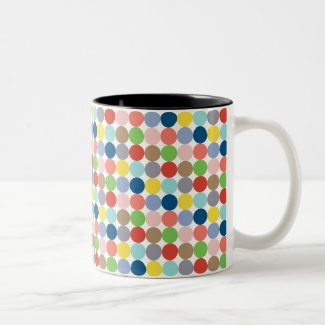 colorful circles of pastel color... Two-Tone Coffee Mug