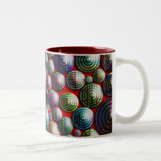 Colorful Circles on a Red Background look 3D Mugs