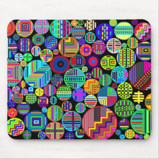 Colorful Circles on Black Background Mouse Mats