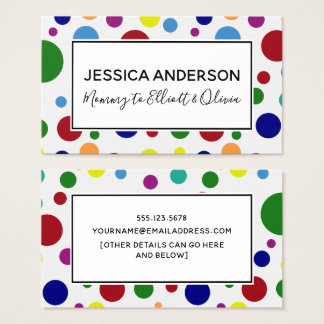 Colorful Circles on White, Mommy Playdate Card