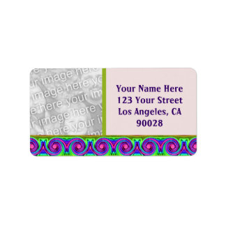 colorful circles photo frame label